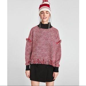 Zara Fringe Mock Neck Red Black Sweater Size Small